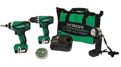 Hitachi KC10DFL2 12-Volt Peak Cordless Lithium-Ion Driver Drill and Impact Driver Combo Kit