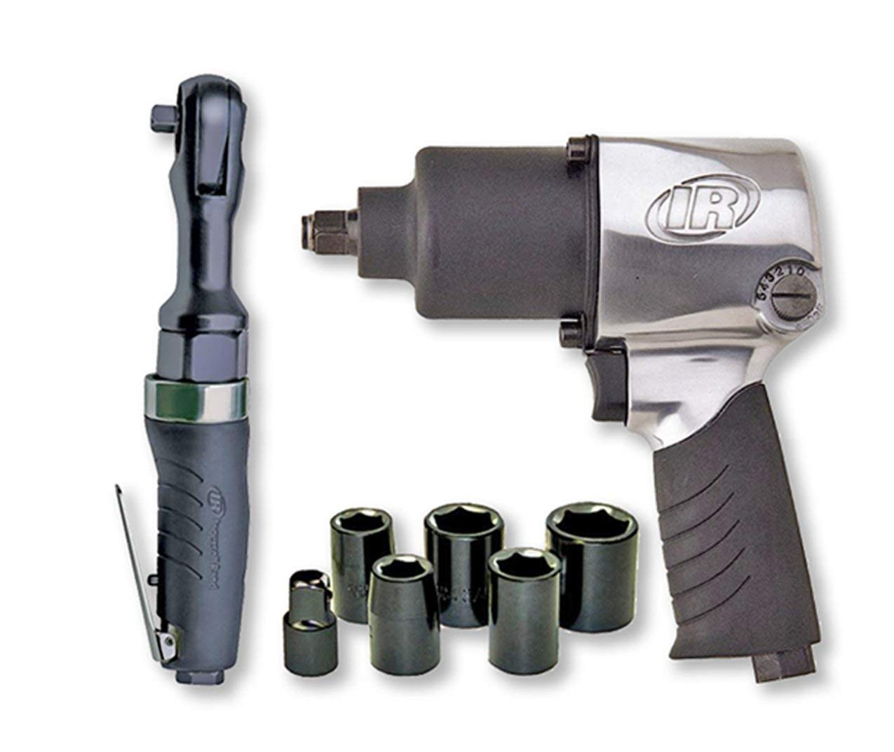 Ingersoll Rand 2317G Edge Series Air Impactool and Ratchet Kit  Black