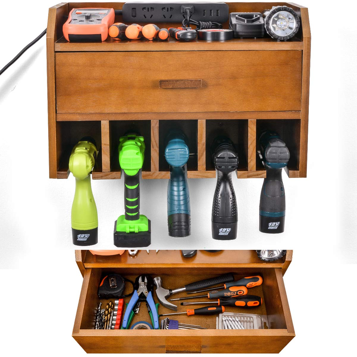 Power-Tool-Organizer-Storage--Garage-Organizer-Drill-Charging-Station--Wooden-Cordless-Drill-Holder-Rack-Wall-Mount-with-Drawer