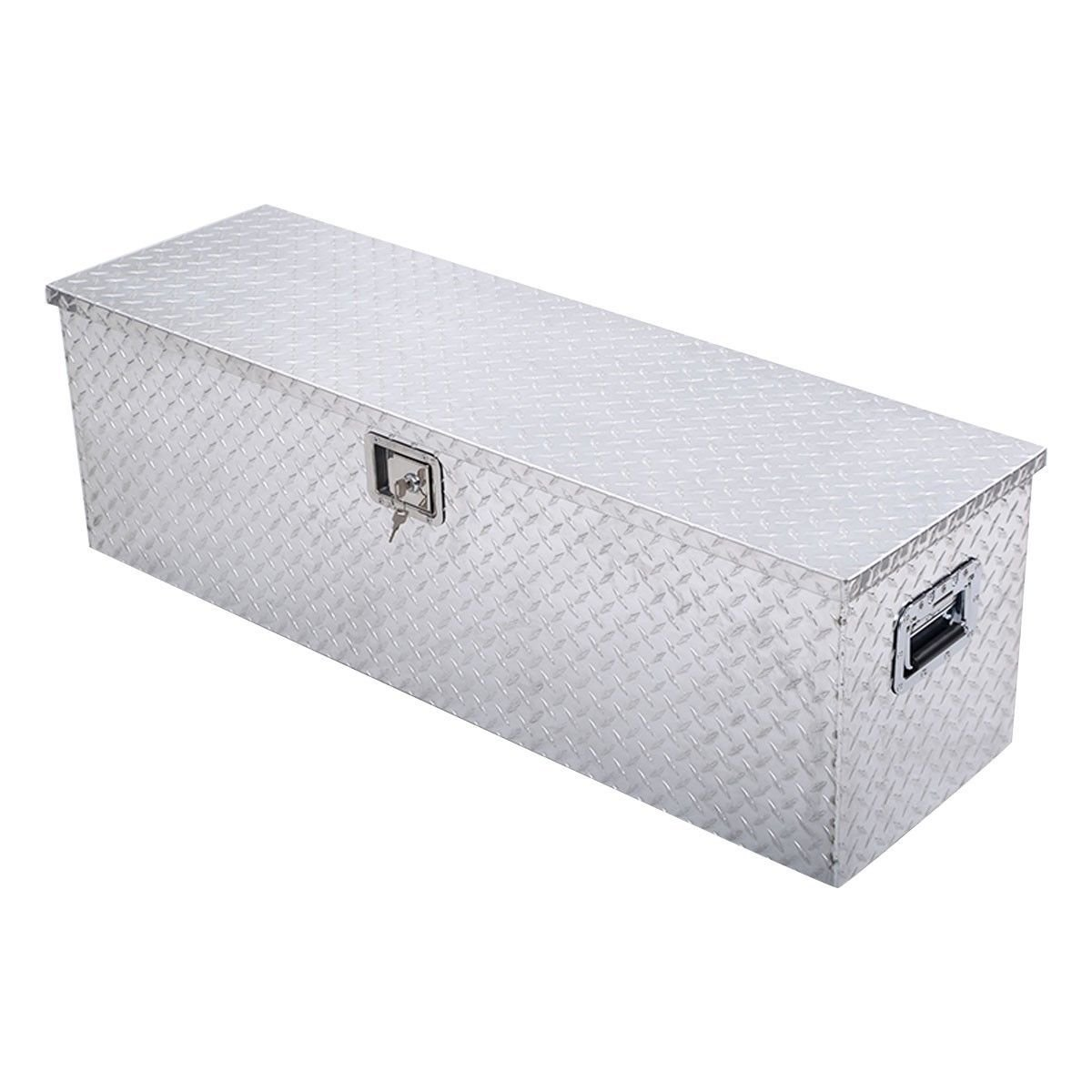 Giantex 49 x15 Aluminum Tool Box Tote Storage for Truck Pickup Bed Trailer Tongue W Lock 49 L